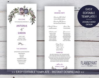 MUTED FLORAL Suite - Ceremony Program - Editable Template - Faded Florals & Gold-Effect Geometric Design - Printable - Instant Download