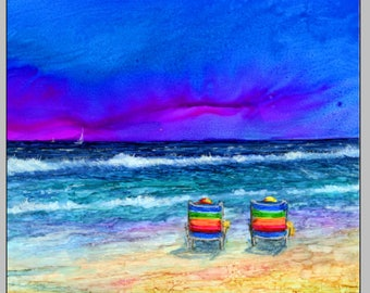 Trivet- Art Tile- Dye Sublimation Imprint of Alcohol Ink painting on Ceramic 6x6 Tile- Alcohol Inks- Beach Chairs