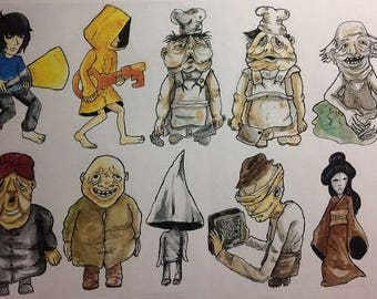 Little Nightmares PS4 / PC game cast stickers set | stationery