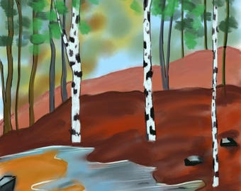Creek By The Birch Trees