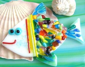Handmade Fused Glass fish,home decor, Fused Glass Art, multicolored,coloured,glass fish, decor for gluing