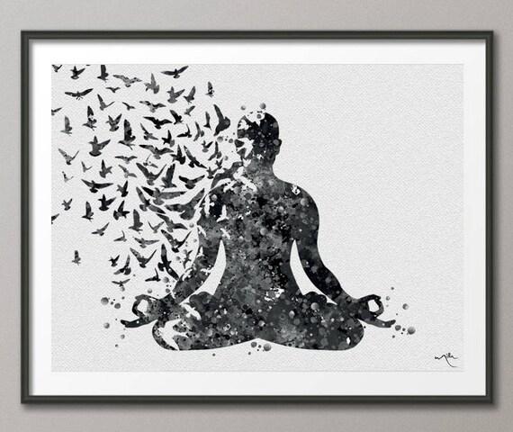 Yoga Art Yoga Watercolor Bird Yoga Poster Yoga Pose Yoga