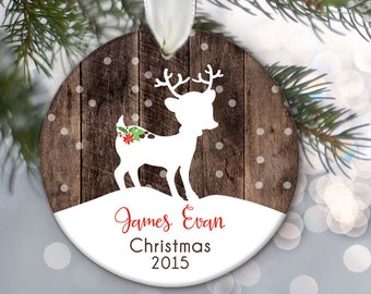 Personalized Kid's Christmas Ornament, Child ornament, Rustic Fawn Deer Ornament, Personalized Christmas Ornament, Faux Wood Ornament OR375