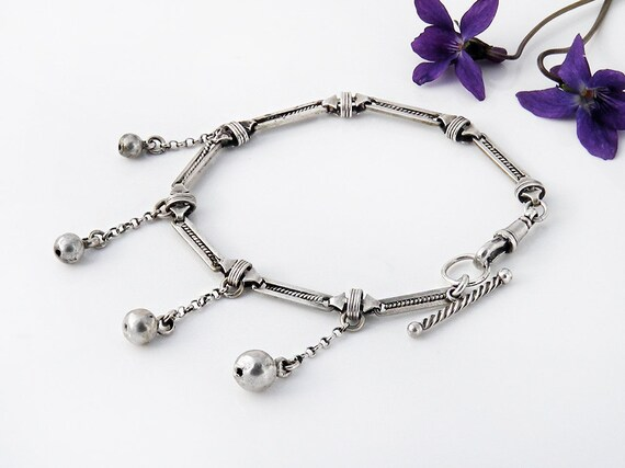 Fob Chain Bracelet | Victorian Sterling Silver | Graduated Size Silver Balls | Ornate Albertina, T-Bar and Fob Clip - 7.25 Inch Wrist Size