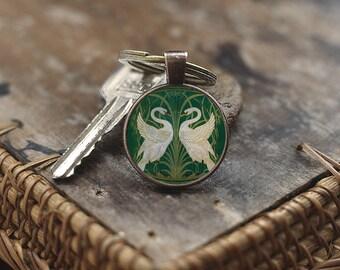 Art Nouveau Swans Keychain, Walter Crane Swans Keychain, Swan jewelry, Swan Keychain, Swan couple Keychain, Art Nouveau Keychain