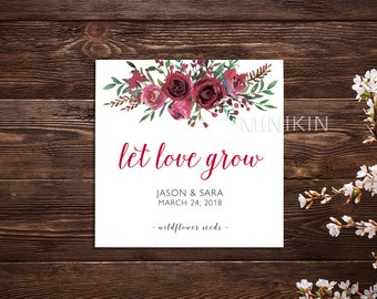 Burgundy Wedding, Let Love Grow, Flower Seeds, Seed Packet, Seed Packet Favor, Wedding Favor, Seed Packet, Wedding Seed Packet x 25