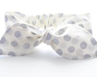 baby girl headband, baby bow headband, baby bows, baby knot headband - metallic silver spots on sketch