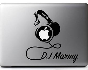 CUSTOMIZED Sticker decal HEADPHONES, DJ set black, for mac/macbook pro 11, 13 and 15 inches