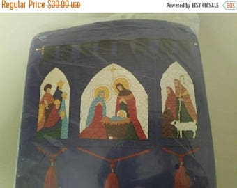 "On Sale Candamar Designs, Something Special, ""Nativity Hanging"", Longstitch Needlepoint Kit, 22"" x 28"", Vintage 1981, Nativity Wall Hanging"