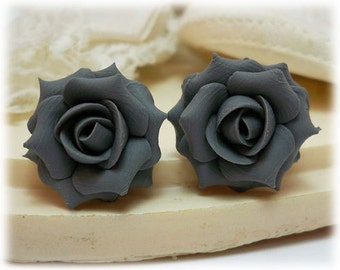 Gray Rose Earrings Stud or Clip On - Gray Rose Jewelry, Gray Flower Earrings