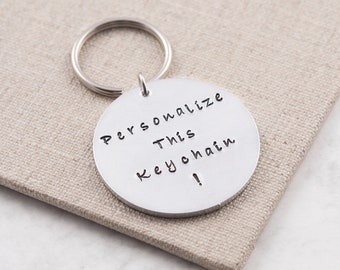 Personalized keychain, personalized keyring, custom keychain, personalized gift, quote keychain, round keychain, gift for him, gift for her