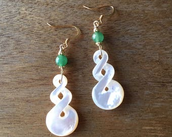 Carved Mother of Pearl Earrings, Bridal Earrings, Bridal Jewellery, Hand Carved Natural Mother of Pearl and Green Aventurine Bead Earrings