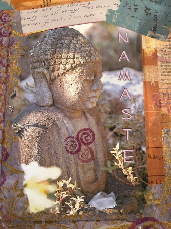 "Budda - Namaste (5"" x 7"" photographic greeting card - blank inside, with envelope)"