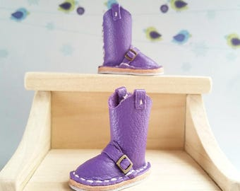 Mini Eggplant Purple Leather Neo Blythe Doll Boots Azone Pure Neemo M Size Body Hand Made By MizuSGarden