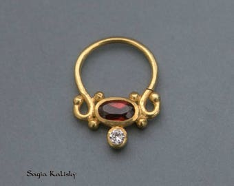 Gold Plated Septum Ring For Pierced Nose With Garnet Stone - Septum Jewelry - Septum Piercing - Nose Jewelry - Indian Nose Ring