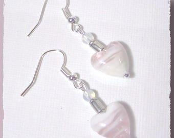 Pink iridescent white heart earrings for stud earrings