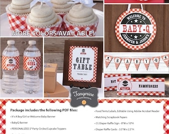 Baby Q Decorations, BBQ Baby Shower Decorations, Co-ed Baby Shower, Couples Baby Shower, Personalized, Printable PDF Files