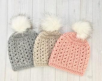 Baby Girl Hat, Slouchy Baby Hat, Baby Boy Hat, Baby Boy Beanie, Slouchy Baby Boy Hat, Knit Baby Girl Hat, Faux Fur PomPom Hat, Pom Pom Hat