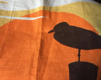 Vintage Seagull and Sunset Linen Tea Towel in Mint Condition