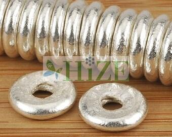 HIZE SB629 Thai Karen Hill Tribe Silver Disc Ring Donut Spacer Beads 8mm (16)