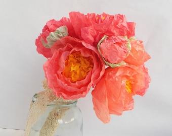 Bright pink paper peony bouquet, Paper Peonies, Paper Flower Bouquet, Boho Wedding Flowers, Alternative Bouquet