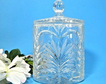Crystal Biscuit Jar Frosted Fern Pattern