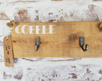 Cast Iron Coffee cup holder/hooks made from reclaimed wood