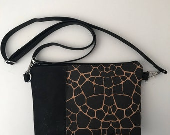 Cork Bag/Crossbody Bag/Cellphone Bag/Clutch Bag/Pouch/Purse -Black/Turtle