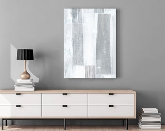 Oversized Canvas Print Wall Art - Large Modern Abstract Art - Grey & White Contemporary Art - Neutral Home Decor - Minimalist Abstract Art