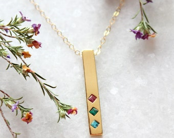 Gold Birthstone Bar Necklace. Gold Family Necklace with Birthstones by Toozy. Horizontal Bar Necklace with Birthstones. TOTEM