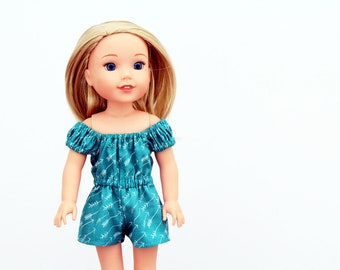 Fits like Wellie Wishers Doll Clothes - Off the Shoulder Arrows Romper in Teal | 14.5 Inch Doll Clothes