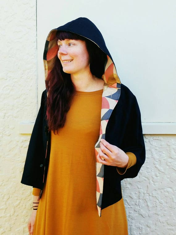Navy Wool Cape, Cloak, Poncho, Coat with Hood and Wooden Toggles.