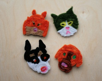 Handmade dogs and cats fluffy brooches(husky, pomeranian, labrador retriever and a cat)