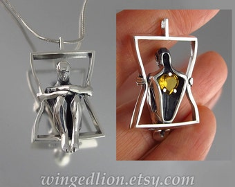 You Have My Heart silver pendant with Citrine - Ready to Ship