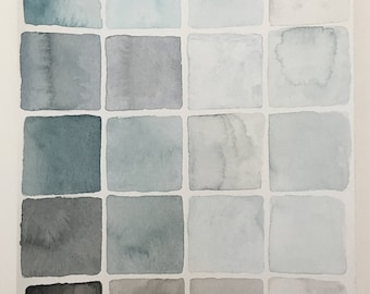 Original Watercolor Blue and Gray Square Gradient