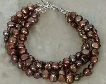Brown 4 Strand Freshwater Pearl and Swarovski Crystal Bracelet