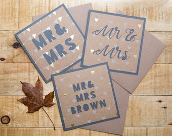Mr & Mrs Wedding / Civil Partnership Congratulations Card