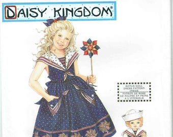 Simplicity 5950 Daisy Kingdom Girl's Matching Doll Dress Pattern Sizes 3, 4, 5, 6, Unused Vintage Sewing Pattern