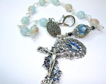 Chaplet,rosary,decade,bracelet,tenner,blue aqua terra, gemstone chaplet,miraculous medal,tree of life,multi purpose,rosary bracelet,freeship
