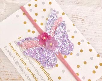 Pink hair bow, butterfly headband,flower headband, baby bow, girls hair accessories, wedding hair, christening bow