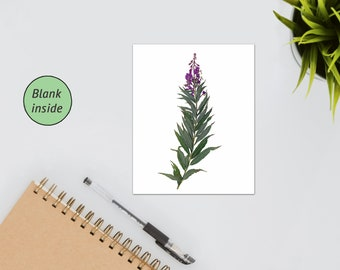 Fireweed Card - Blank Notecard or Greeting Card - Perfect for Mother's Day, Wedding, Get Well Soon - Flora of Montana Card - Alaska Notecard