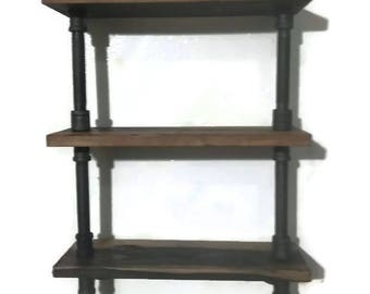 Industrial Pipe Shelving with towel bar Comes pre-assembled or Build it yourself with my DIY Complete kit!