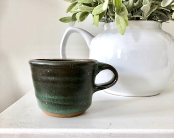 Ombre green/ black hand thrown mug