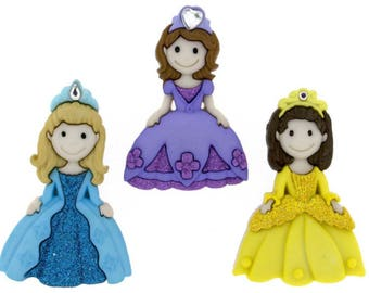 Button Embellishments / PRINCESS / Set of 3 / diy headband / diy hair accessories / hair bows / sewing / scrapbooking/buttons/embellishments