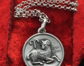 Aries Zodiac Pendant Necklace Medal Vintage French Sterling Silver Zodiac Sign Astrology Amulet Talisman