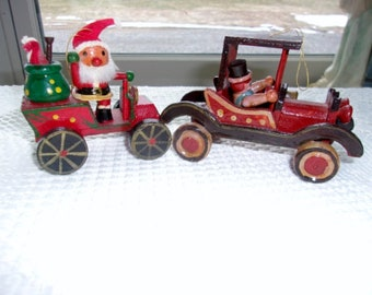 Christmas Wooden Tree Ornaments - 2 Old Vintage Car Models - Santa in One With Toys and Wooden Soldier in Other - Free Shipping