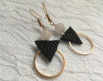 Rose Quartz Earrings, Leather Earrings, Handmade Earrings, Geometric Earrings, Art Deco Earrings, Valentine's day gift, Handmade Jewelry