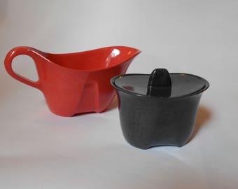 Vintage Branchell Melmac Charcoal Sugar Bowl / Coral Creamer / Gravy Boat Designed by Kaye La Moyne