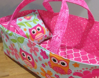 Doll Carrier, Will Fit Bitty Baby and Stella Dolls, Bird and Owl, 16 Inches Long, Doll Basket