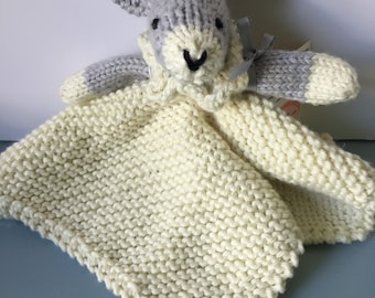 baby blanket, cuddle blankie, mini rabbit blankie, soft pure cotton, chewable, for little hands, baby hand held, cuddle toy, child safe
